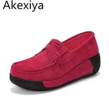 Akexiya 2017 весенние женские сумки неподдельной кожи замши ботильоны creeper обувь женщины платформа клин женщин повседневная обувь zapatos mujer