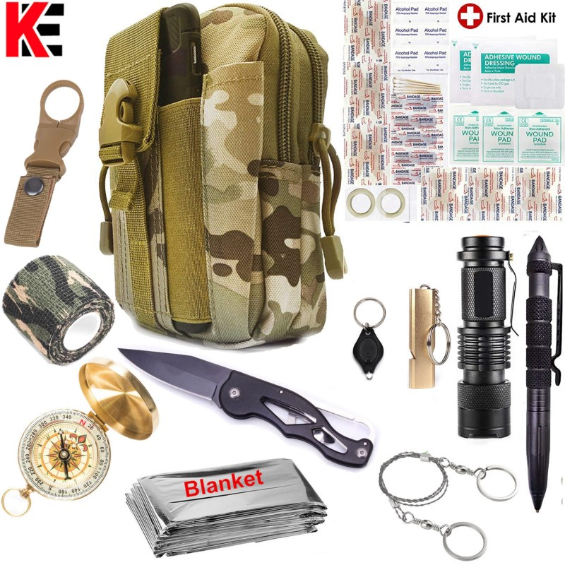 Emergency Survival First Aid Kit EDC Tools UpgradedMolle Pouch Holster, Tactical Outdoor Gears (1)
