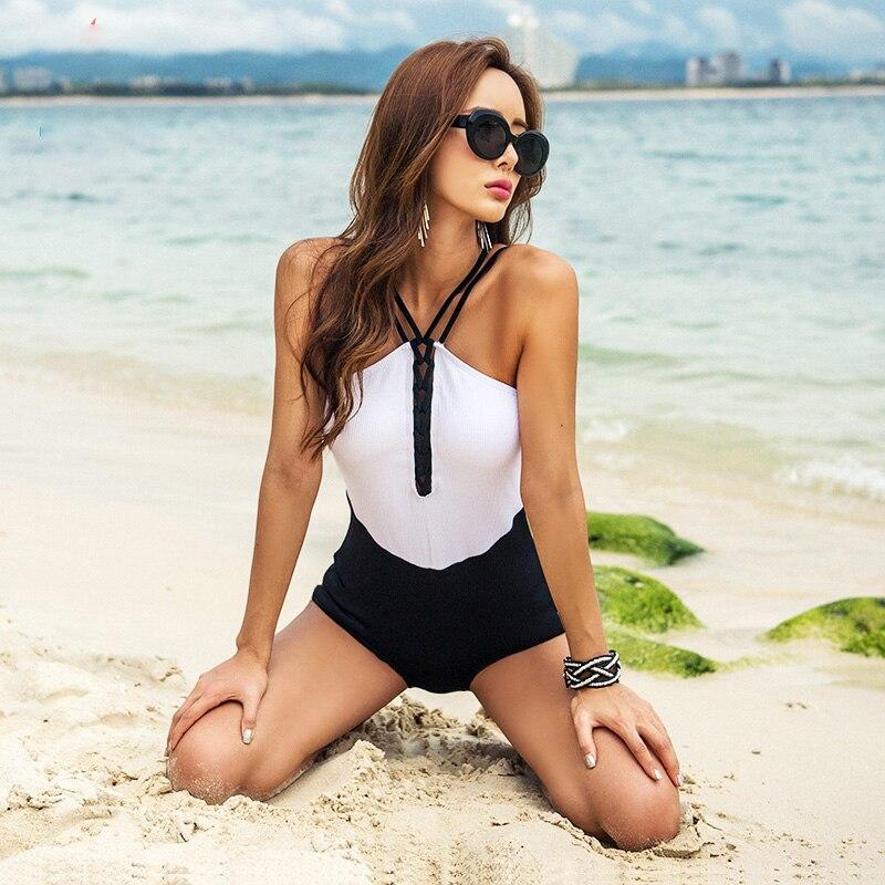 Высокое качество 2019 новый сексуальный лоскутное одеяло купальник пуш ап Sandy пляжный купальник Slim fit женские купальные костюмы - 3