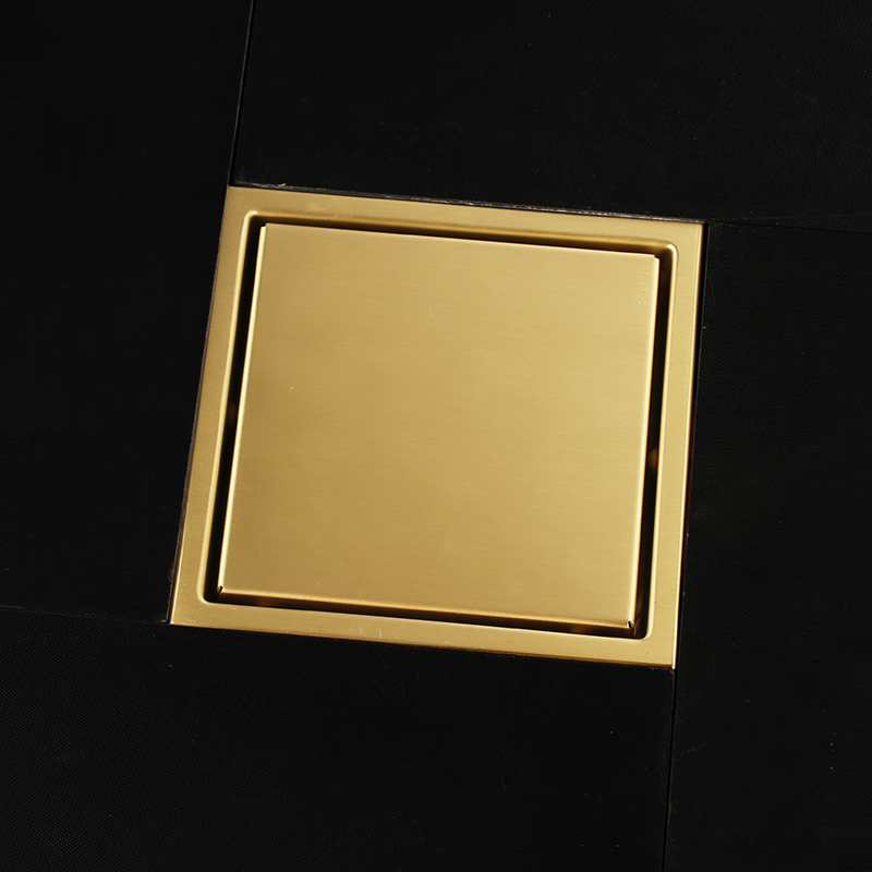 Or de luxe en acier inoxydable 150x150mm carré anti-odeur drain de plancher de salle de bains invisible d'or drain de douche-2018