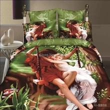 Ywxuege Parejas Juego de Cama 3D 4 UNID, Poliéster/Algodón Queen King Size Venta Caliente Sistemas de La Cubierta, Bedsheet ropa de cama Envío Libre