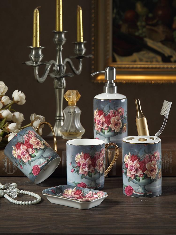 Us 151 2 46 Off Bathroom Ceramic Five Pieces Set Vintage Rose Wash Supplies Kit Wedding Gift Cup Toothbrush Holder Lotion Bottle Dish In Bathroom
