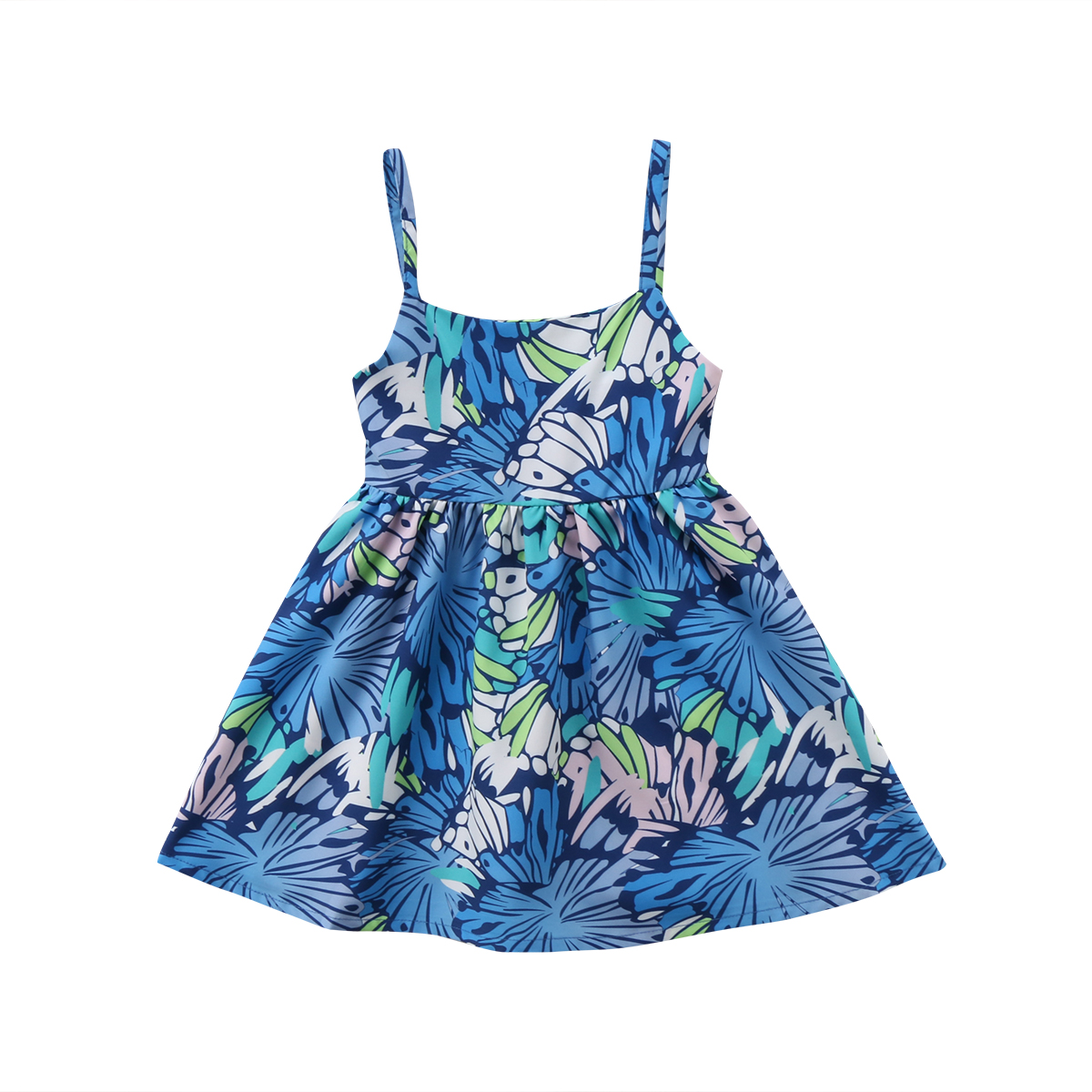 Fashion Princess Toddler Kids Baby Girls Strap Tunic Floral Dress Back Hollow Mini Sundress 0-5T