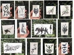 Водонепроницаемые временные тату-наклейки, луна, холм, лес, звезда, временная татуировка флэш-тату, тату, искусство тела, ручная ножка для де...
