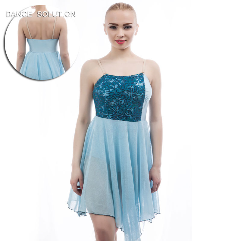 Pale Blue Bodice with Sequin Lace and Mesh Leotard Dress for Adult Ballet Lyrical Contemporary Dance