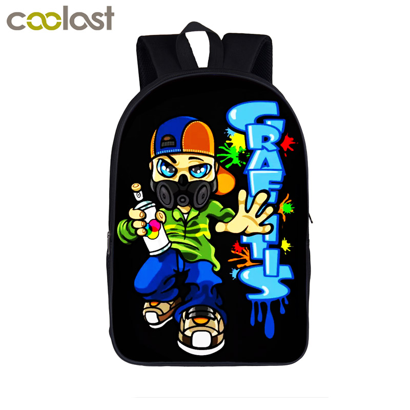 Graffiti Paint Splatter Backpack Born To Rap School Bag For Teenager Women Men Urban Hipster Backpack Boys Girls Hip Hop Bags