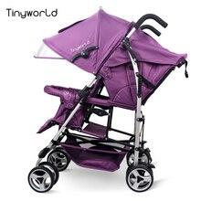 Tinyworld 12 kg quatre couleurs Lumière Jumeaux bébé poussette double sièges bébé poussette lumière pliage poussette fornt retour double poussette
