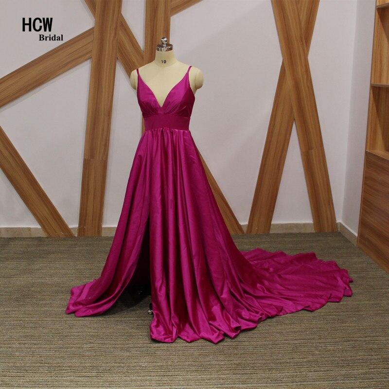 Елегантна дълга официална вечерна рокля 2019 Секси лилави сатенени спагети с каишка линия, дълги влакови поводи рокли арабски вечерна рокля