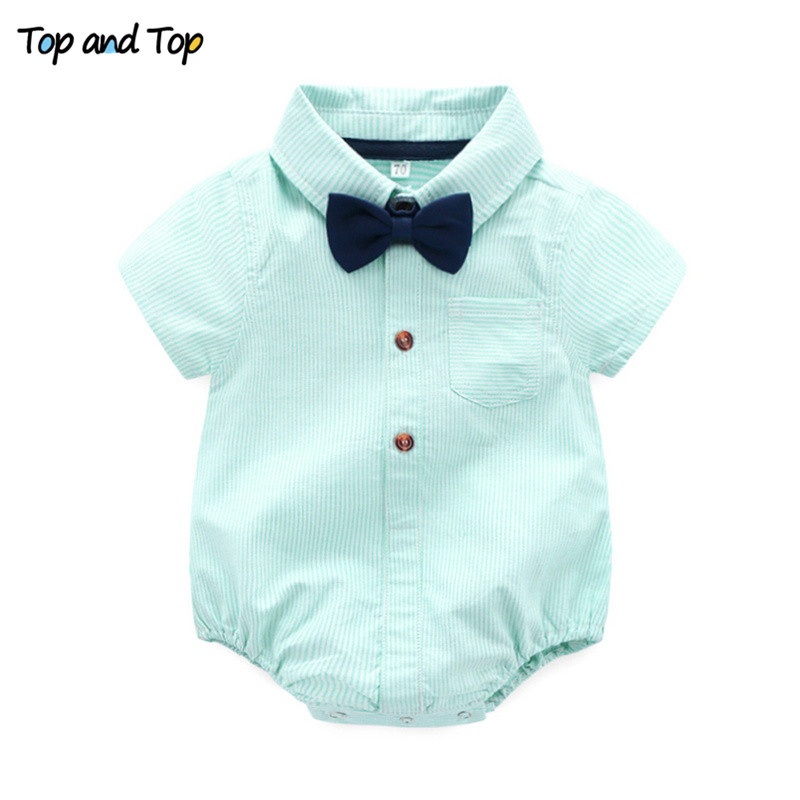 Top and Top Summer Baby Boys Gentleman Striped Clothes Sets Cotton Short Sleeve Rompers Shirts + Shorts + Bow Tie 3pcs/set 1