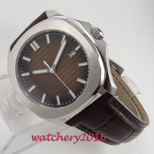 39mm Brown Sterile Dial Sapphire Glass Date Steel Case No Logo Automatic Movement Mens Watch