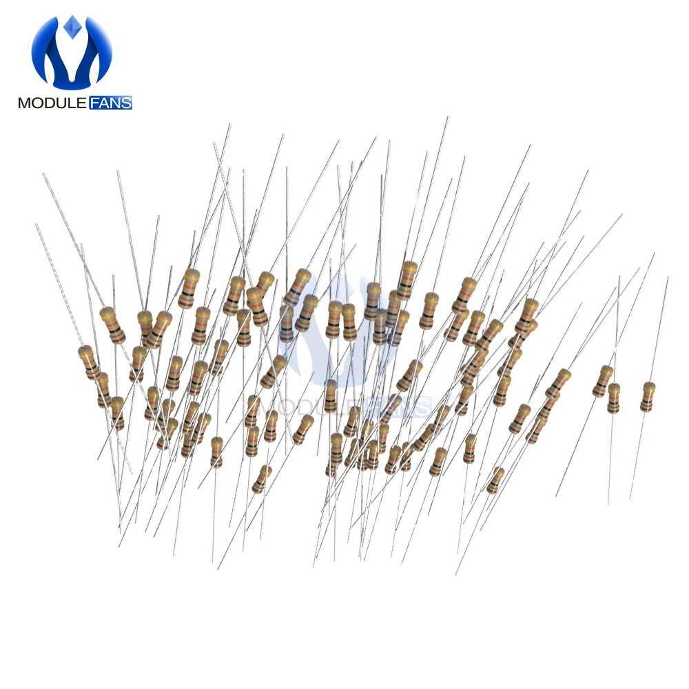 100 Pcs Carbon Film Resistor 5% 1/4W 0.25W 1R-1M Ohm Resistance1K 2.2K 4.7K 5.1K 6.8K 10K 15K 22K 47K 1% + 1% -1% DIY Elektronik