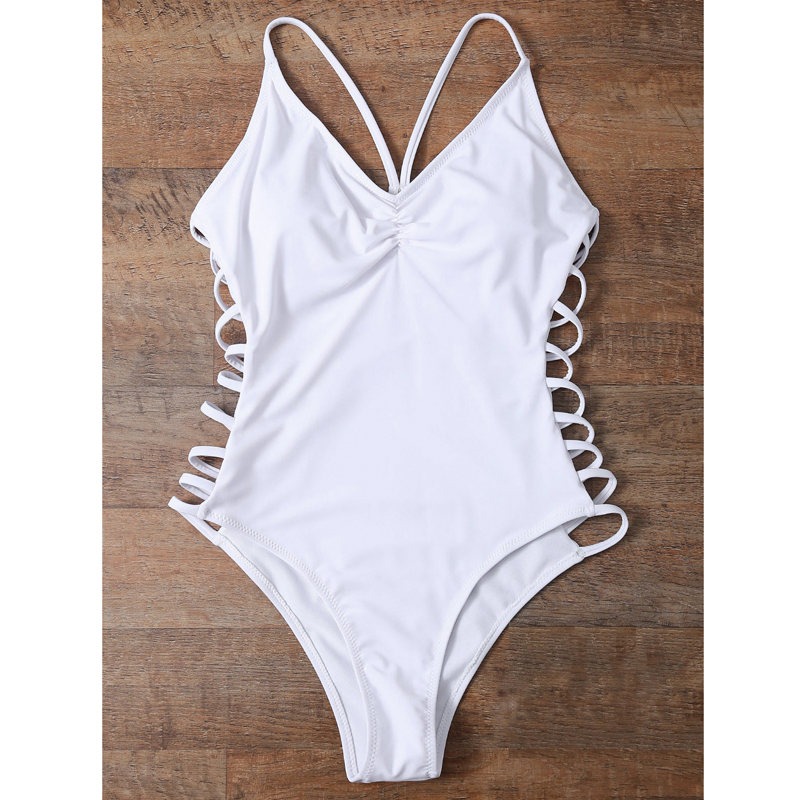 2017 Sexy One Piece Swimsuit Women Bandage Swimwear Female White Monokini Bodysuit Bathers Beach Swim Wear Swimming Bathing Suit