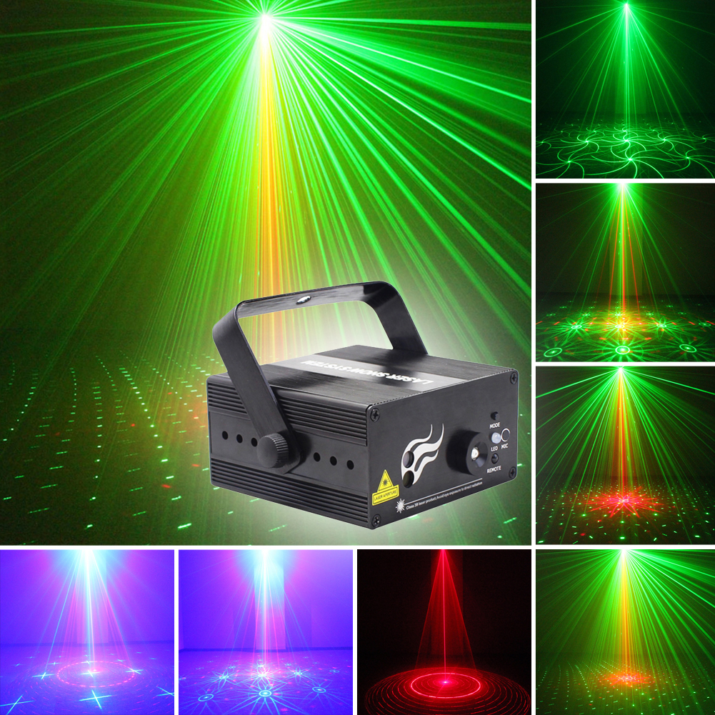 LED Laser Pointer Disco Party Wedding KTV Stage Light Party Pattern Lighting Projector Show IR Remote RG Laser Projector Lights