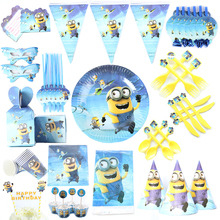 Minion Theme Cartoon Party Set Balloon Tableware Plate Napkins Banner Birthday Candy Box Baby Shower Party Decoration