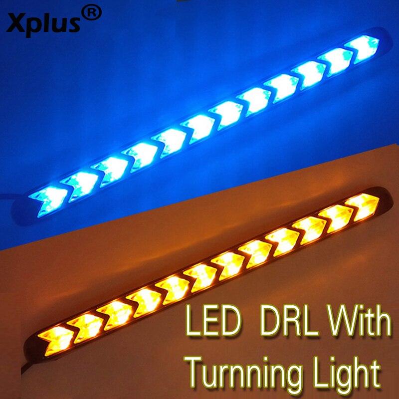Xplus 2x Auto del Segnale di Girata DRL Bianco/Ambra Switchback LED Knight Rider Luce di Striscia Faro Freccia Lampeggiatore Impermeabile Flessibile