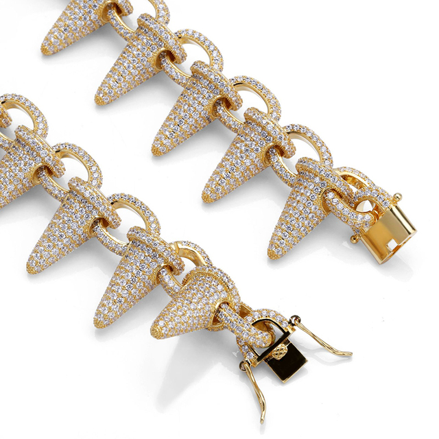 Luxury AAA Zircon Rivet Spike Chain Link Men Necklace Gold Silver Color Bling Iced Out CZ Hip Hop Rapper Necklaces Male Jewelry