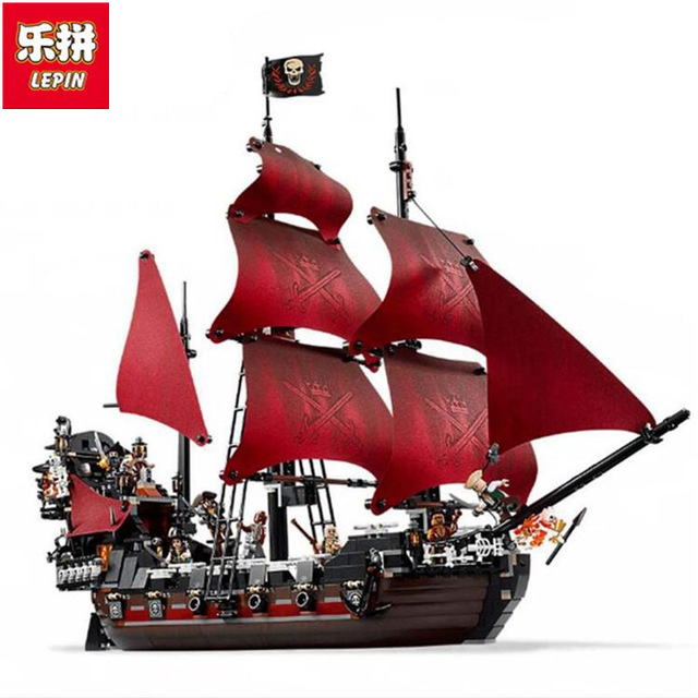 LEPIN 16009 1151pcs Queen Anne's revenge Pirates of the Caribbean Building Blocks Set Compatible with 16006 Children DIY gift lepin 16009 caribbean blackbeard queen anne s revenge mini bricks set sale pirates of the building blocks toys for kids gift