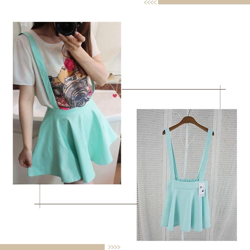 1X Women Skirt Skirt Color Womens Suspender Candy Girls Mini Skirt Summer Pleated