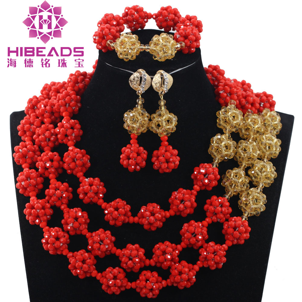 Trendy 2017 New Design Red African Beads Necklace Sets Red Gold Crystal Balls Women Fashion Jewellery Sets Free Shipping ABH466 african orange red beads necklace sets orange gold crystal balls beads women fashion jewellery sets qw1191