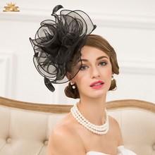 Nueva manera de la señora sombrero de ala de las mujeres del estilo  británico casquillo del partido Noble cena Formal colocación. fe255d917013