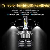 Three Color Flash Car LED Headlight Kits H3 H1 H7 H11 9005 9006 H4 60W 4300K 3000K Yellow 6000K White Dual Color LED Light Bulb