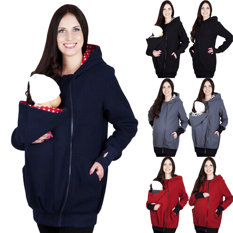 Brand New Winter Warm Newborn Baby Carrier Jacket Women Kangaroo Zip Hoodie Sweatshirt Hooded Coat Outerwear