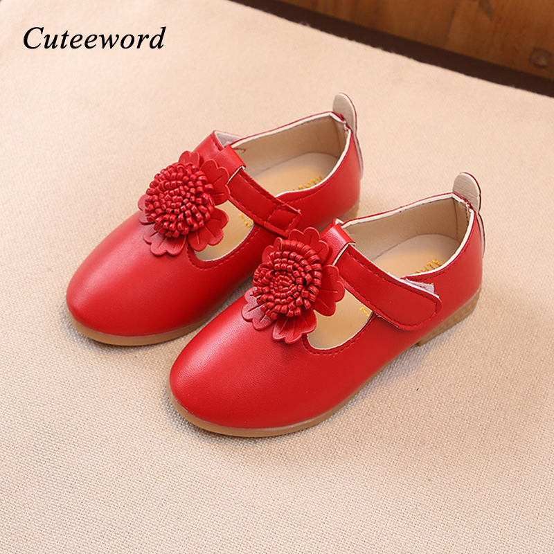 Girls shoes children princess shoes spring and autumn fashion flowers girls casual shoes soft bottom non-slip kids leather shoe