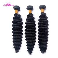 Али Коко индийские глубокие волнистые волосы пучки и сделка 8-30 дюймов 100% человеческие волосы плетение 1/3/4 пучки естественных цветов Remy воло...