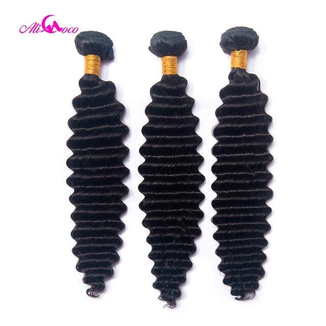 Paquetes de pelo de onda profunda indio de Ali Coco y Deal de 8-30 pulgadas 100% cabello humano tejido 1/3 /4 paquetes de pelo Remy de Color Natural