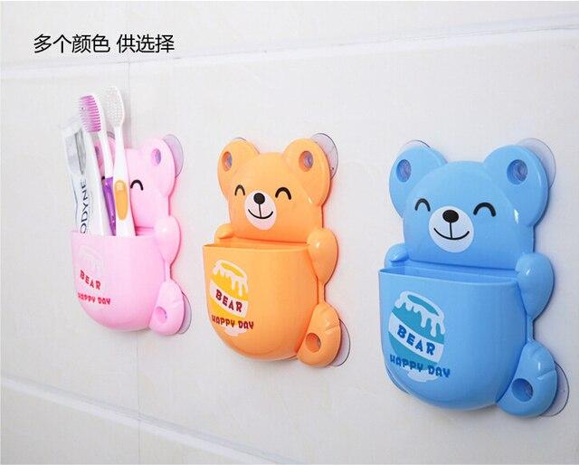 Creative Bathroom Set Strong Chuck Type Cartoon Lovely Bear Design Mouthwash Plastic Box Toothbrush Holder Organizers