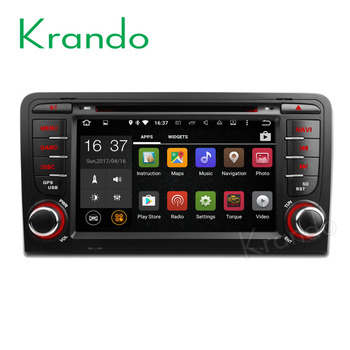 "Krando 7"" Android 8.1 car navigation multimedia system for Audi A3 2003-2011 audio radio gps dvd player WIFI 3G DAB+"