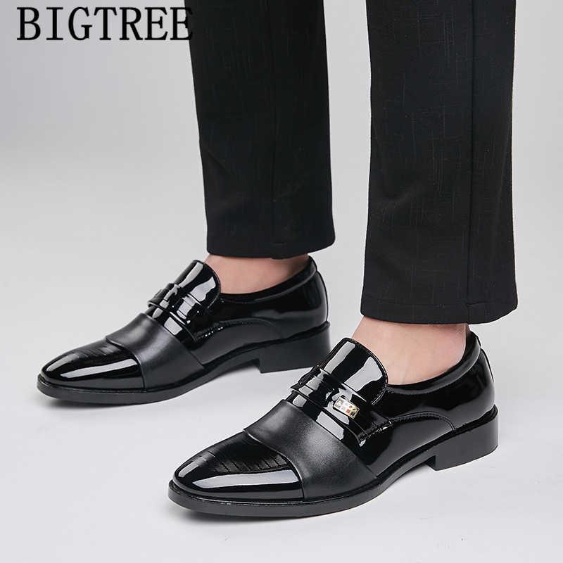Couro de patente apontou toe deslizamento em sapatos masculinos sapatos de negócios sapatos mans oxford sapatos para homem social masculino scarpe uomo