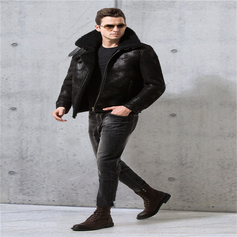 32c29d87e952 Denny Dora Mens Shearling Coat Mens Fur Coat Black Crack Texture Pilot  Leather Jacket-in Genuine Leather Coats from Men s Clothing on  Aliexpress.com ...