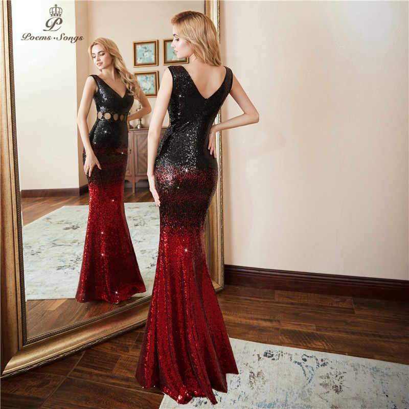 Poesie Canzoni 2019 Hollow Vestito Da Sera abiti di promenade vestido de festa di Lusso Rosso Lungo Nero Con Paillettes Convenzionale Del vestito da Partito