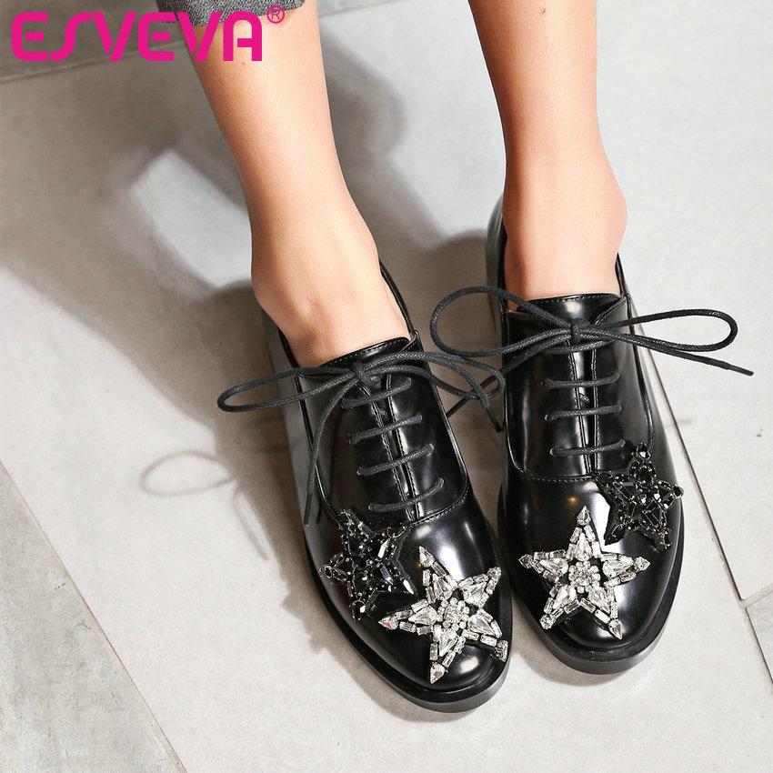 ФОТО ESVEVA 2017 Star Rhinestone Square Low Heel Woman Pumps British Style Spring Autumn Shoes Women Lace Up Fashion Shoes Size 34-43
