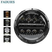 FADUIES 80W DOT Approved 7 inch Daymaker LED Projector Headlight with Angle EyesFor Harley Davidson Motorcycles(Black/Chrome)