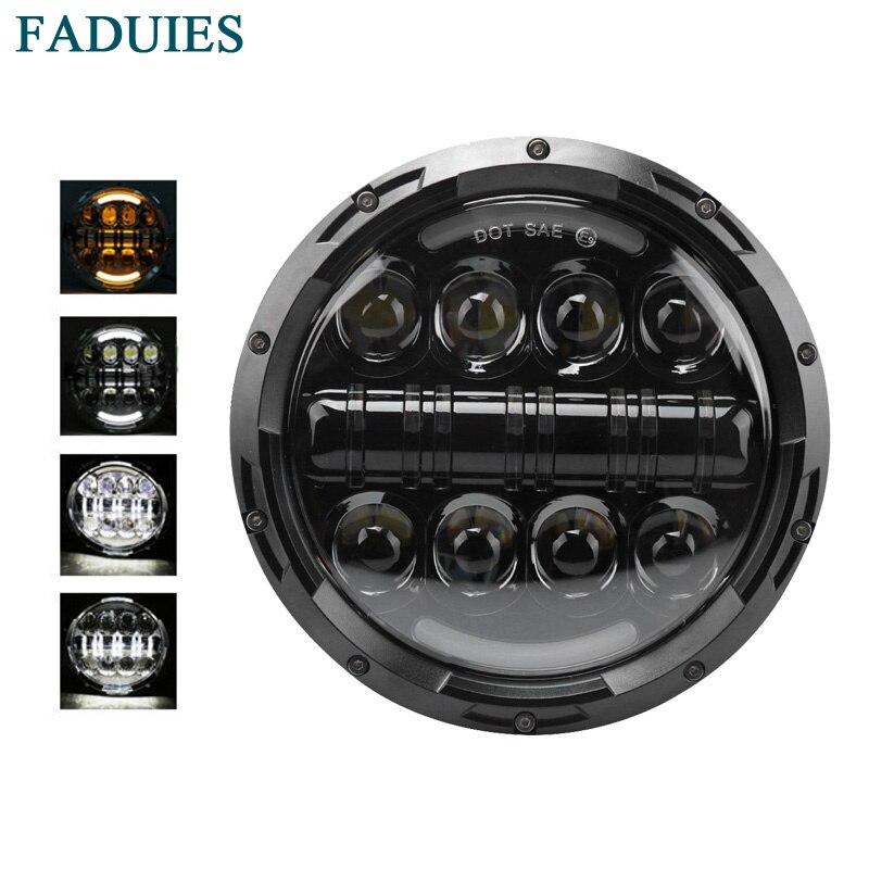 Faduies 80 Вт DOT Утвердил 7 дюймов daymaker светодиодный проектор фар с углом eyesfor Harley Davidson (черный/ chrome)