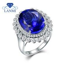 خاتم تنزانيت للنساء مزدوج الغرض قلادة 18K كبير الطبيعية تنزانيت الأحجار الكريمة حقيقية الماس البذخ الخلود الحب الدائري