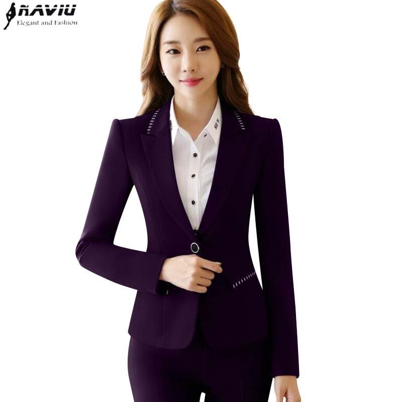 musim dingin pakaian kerja wanita pant setelan busana elegan formal ungu hitam lengan panjang blazer ramping