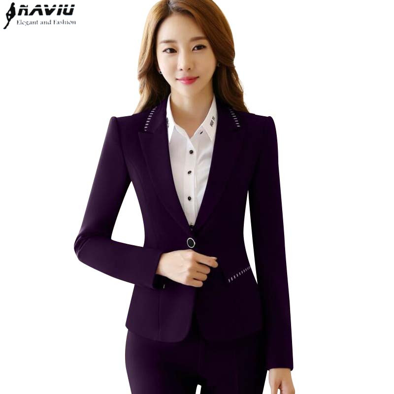 Winter work wear women pant suit slim fashion elegant formal ...