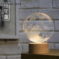 Творческий 3D Moon настольная лампа дети спальня ночники светодиодный светильник декоративный подарок на день рождения древесины ночь свет Б