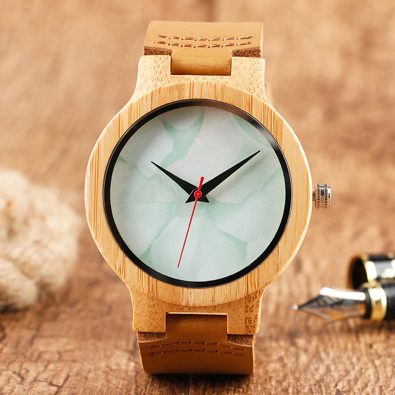 Fashion Marble Pattern Dial Nature Wood Quartz Watches Light Hand made Bamboo Wooden Wristwatch Genuine Leather