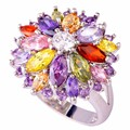 Wholesale Peridot Garnet Citrine Amethyst Multi-Color Silver Ring Size 6 7 8 9 10 11 12 13 Women Jewelry Flower Design