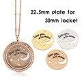 """10 pçs/lote 22.5mm Aço Inoxidável 316L """"te amo até a lua..."""" Placa para 30mm Flutuante charme Medalhão"""