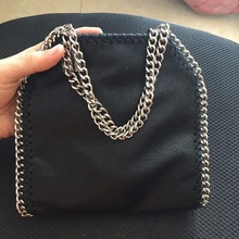 MINI 18 CM Classical black Shaggy Deer PVC sliver chain flap best quality packing dustbag card