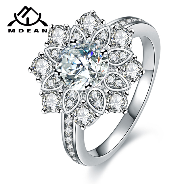 MDEAN White Gold Color Wedding Engagement Rings for Women flower AAA Zircon Jewe