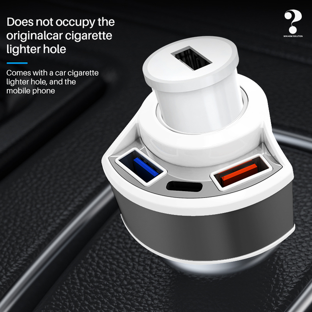Car Charger QC3 0 Quick Charge USB Charger Type C Mobile Phone 3 port Smart