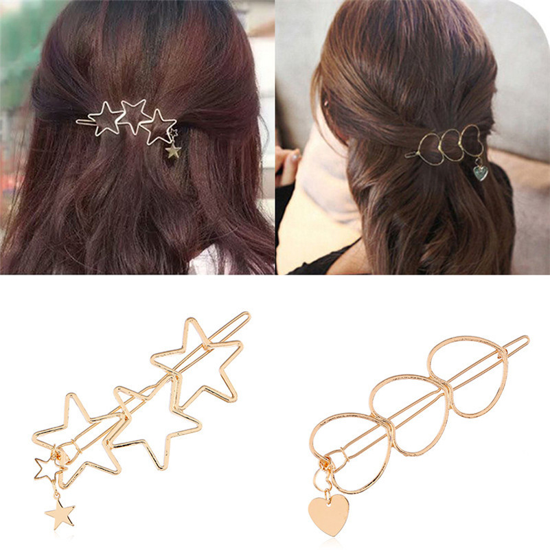 Simple Korean Hollow Alloy Women Hair Clips Fashion Heart Star Metal Hairpins Headwear Girls Barrettes Bang Hairgrip Accessories