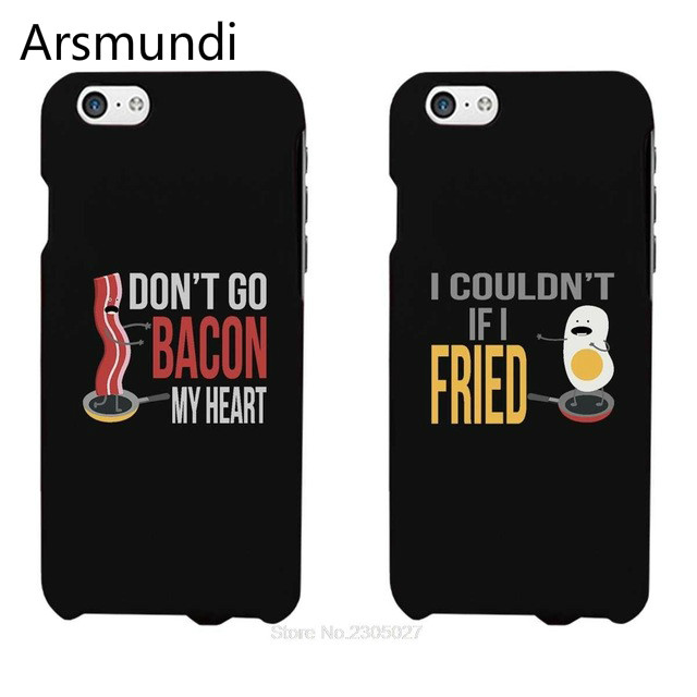 Arsmundi 2PCS Funny Bacon and Egg Matching Phone Cases for iPhone 4S 5C 5S 6S 7 8 X PLUS for Samsung S8 Soft TPU Rubber Silicone