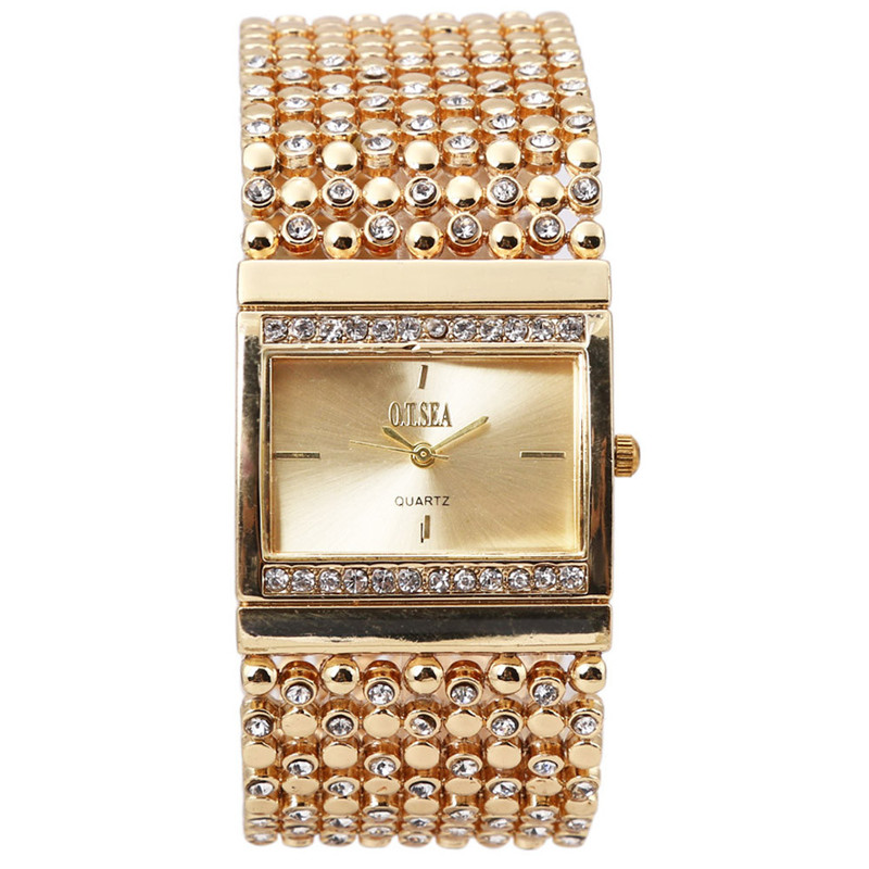 New Fashion Women Bracelet Watch Women's Stainless Steel Quartz Watch Rhinestone Crystal Analog Wrist Watch Relogio Feminino
